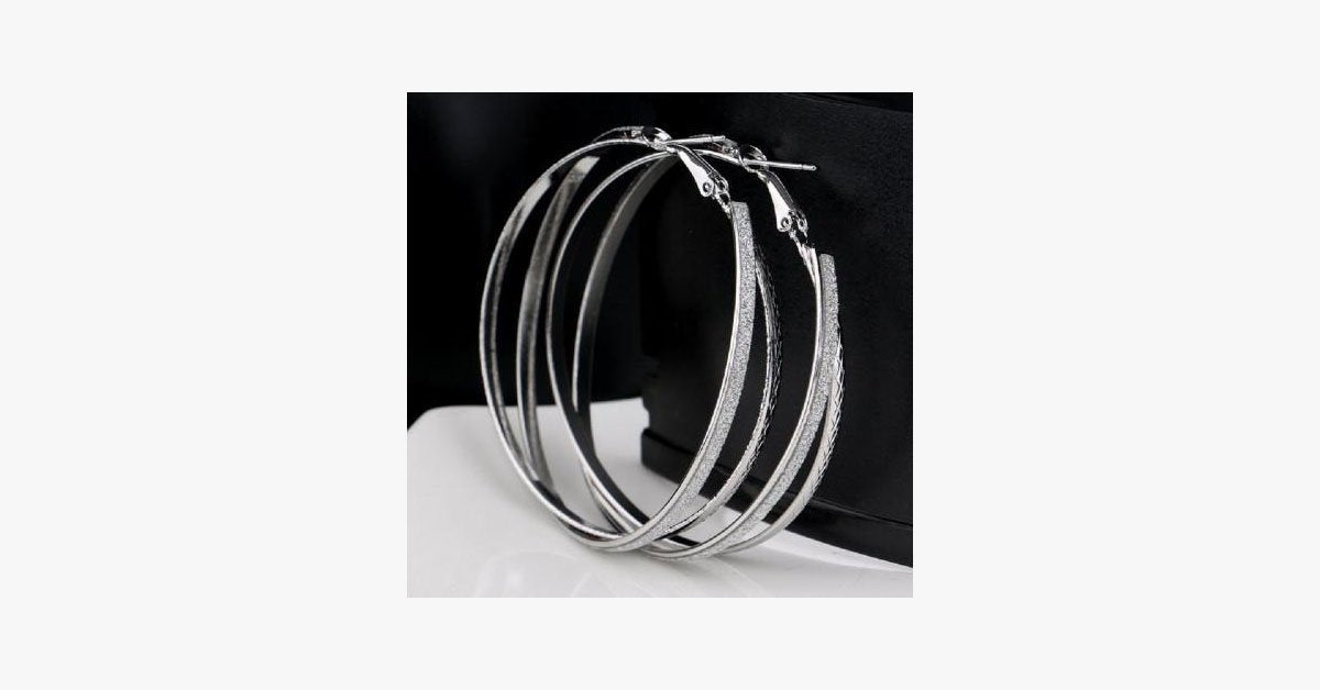 Double Band Stardust Hoop Earrings - FREE SHIP DEALS