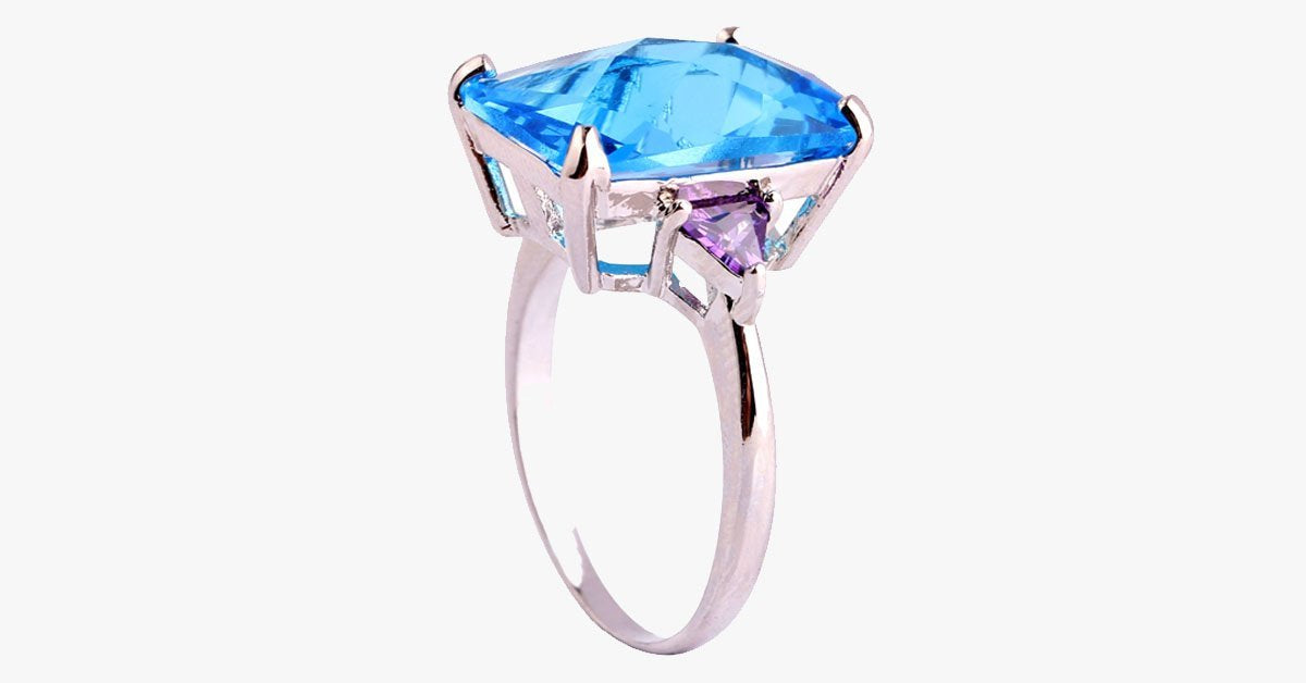 Rectangle Cut Sapphire Aquamarine Ring - FREE SHIP DEALS