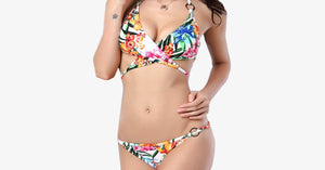 Alluring Halter Lace-Up Floral Print Bikini Set - FREE SHIP DEALS