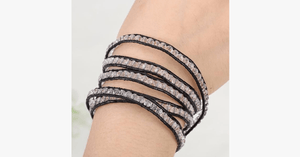 Black on Clear Crystal Wrap Bracelet - FREE SHIP DEALS