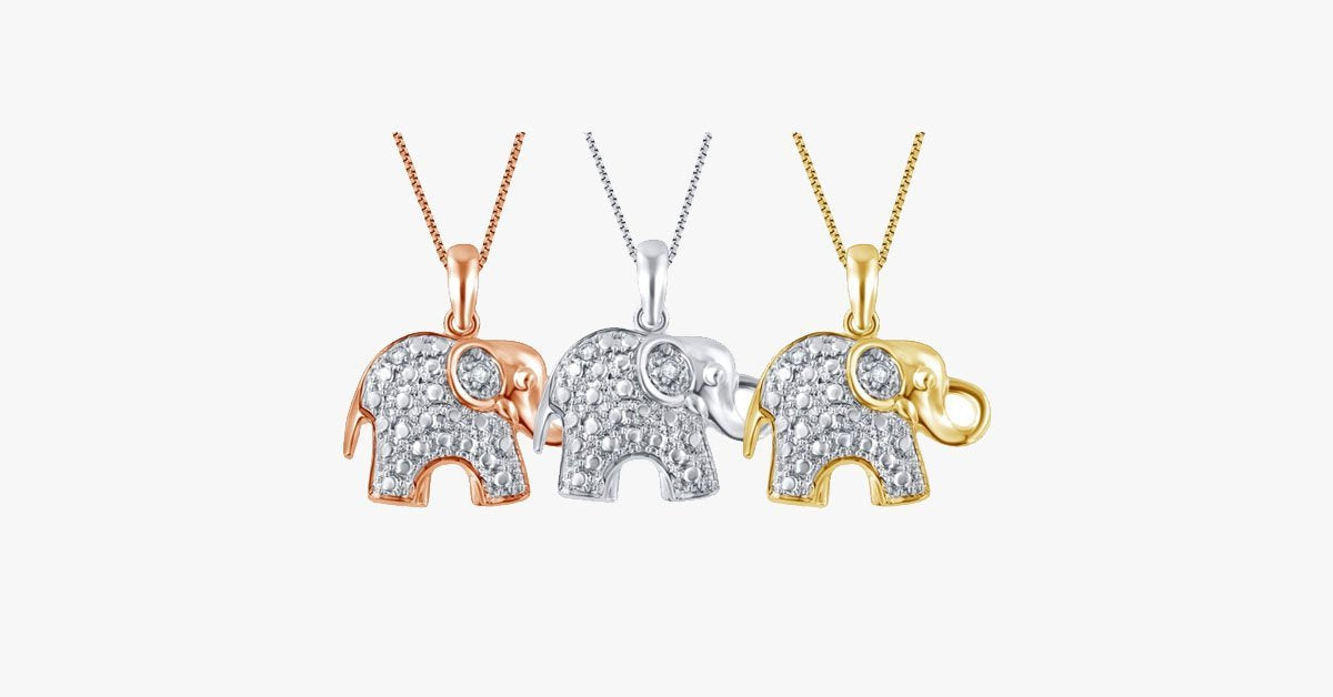 Diamond Accent Elephant Pendant - FREE SHIP DEALS