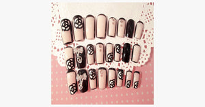 Black Rose Transparent Nails - FREE SHIP DEALS