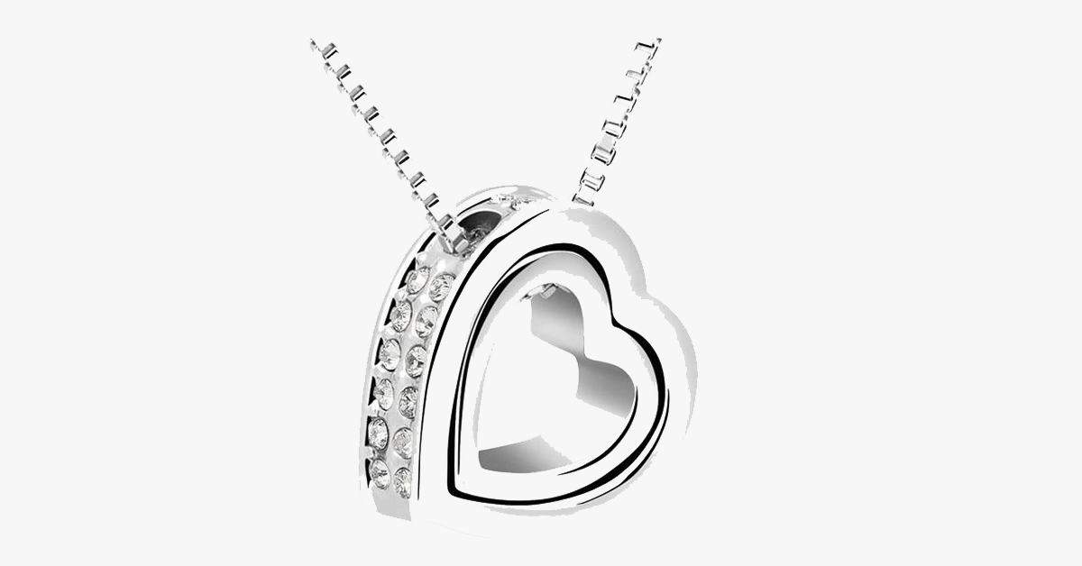 Double Heart Pendant - White Gold - FREE SHIP DEALS
