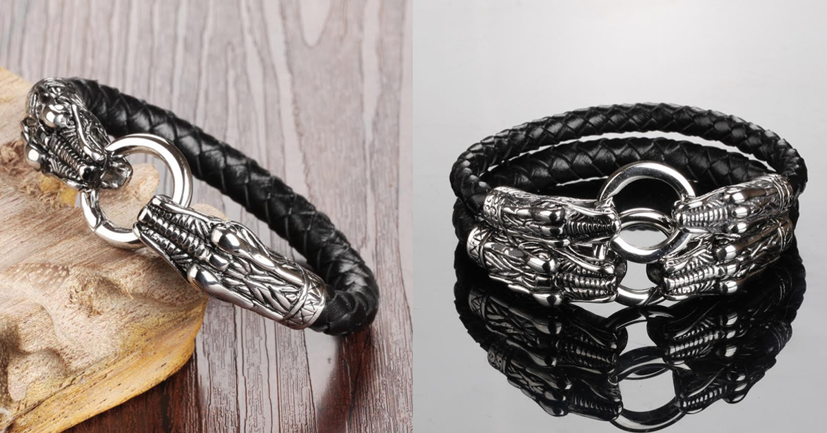 Game of Thrones Inspired Double Dragon Stainless Steel Men's Bracelet – With Bold and Impressive Design Gives You a Super Cool and Chic Look