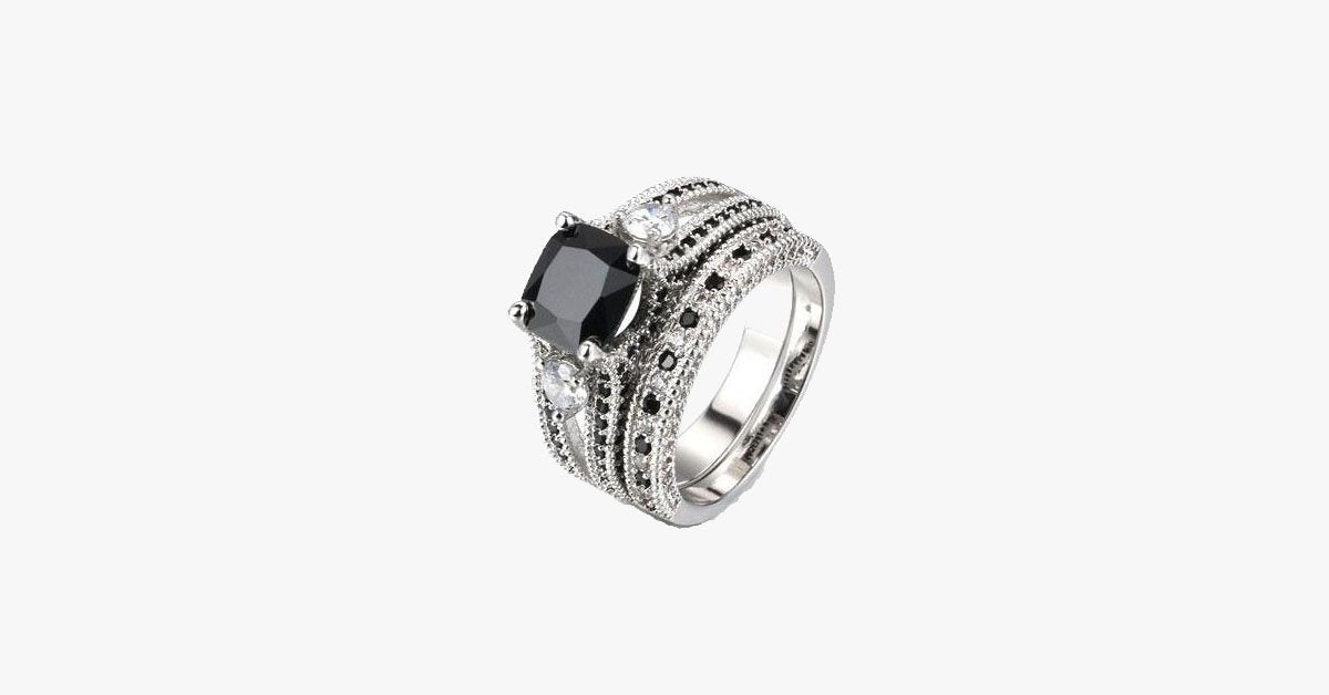 Black Agate Square Ring - FREE SHIP DEALS