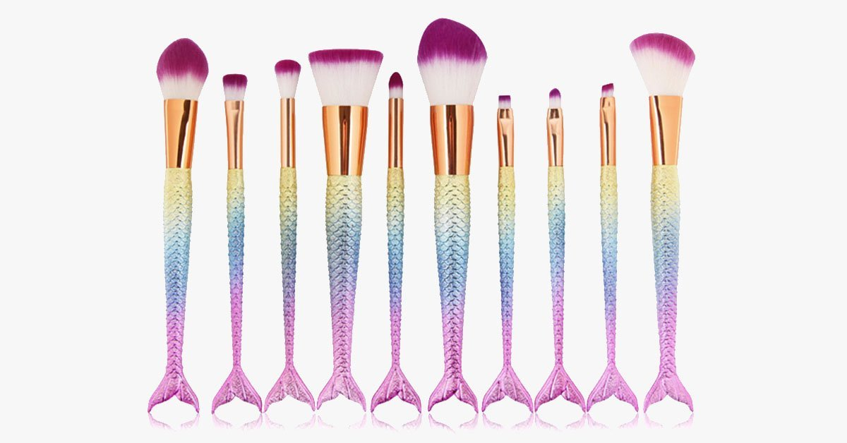 Mermaid Tail Rainbow Makeup Brushes – Perfect to Keep You Dreamy