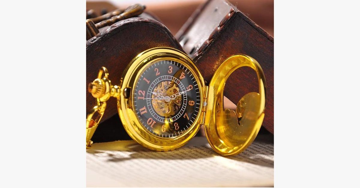Gold Half Hunter Pocket Watch - FREE SHIP DEALS
