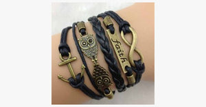Double Owl Infinity Anchor Bracelet - FREE SHIP DEALS