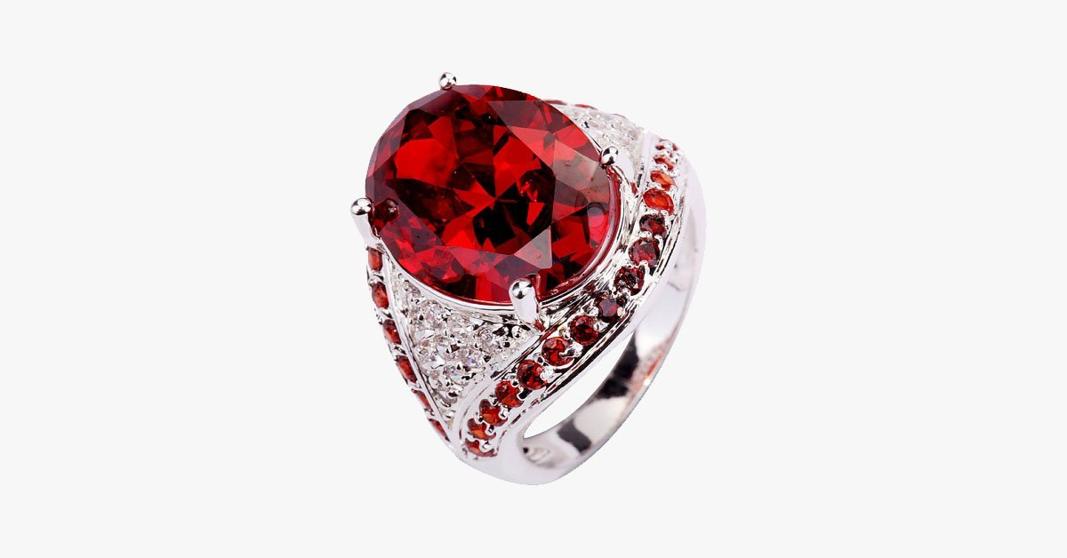 Garnet Red Statement Ring