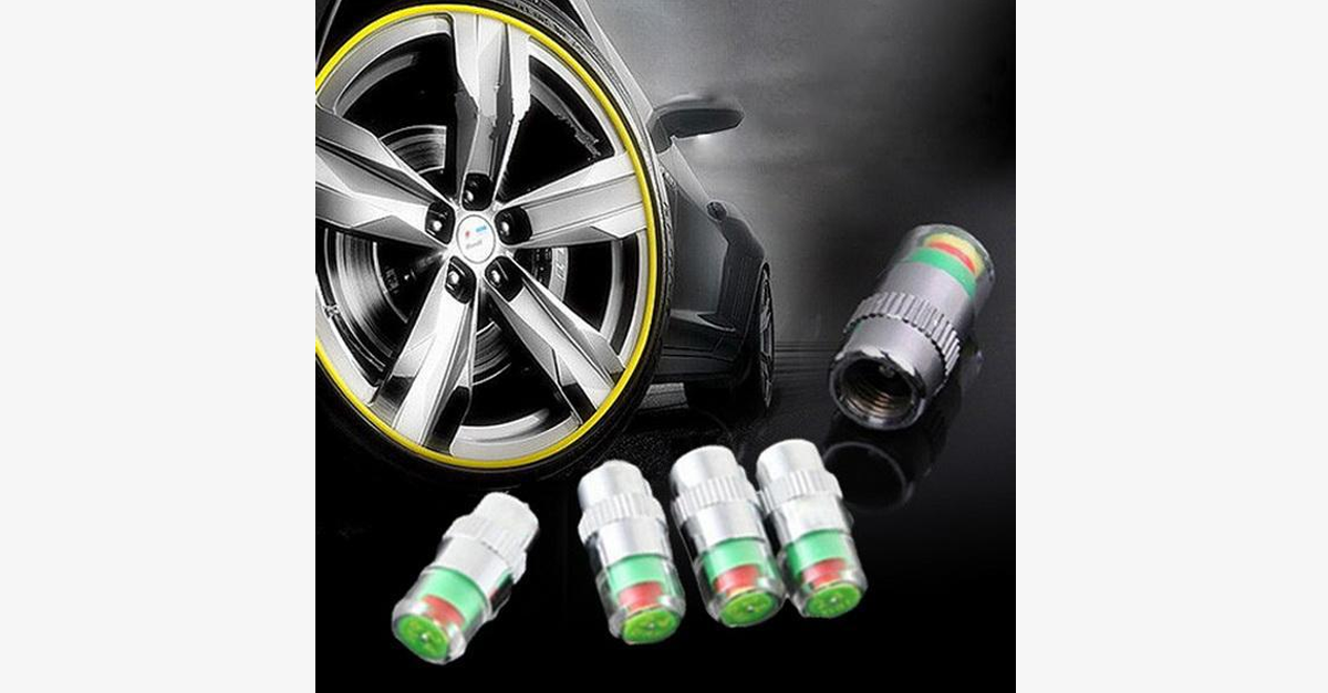 Convenient Car Tire Pressure Monitors-Set of Four- Drive Safe!