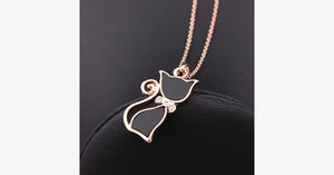 Rose Gold Cat Necklace - Casual Yet Chic Accessory for Women - Elegant Jewelry Piece for Women