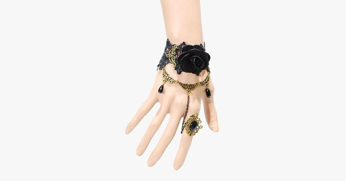 Dark Rose Ring-to-Wrist Bracelet - FREE SHIP DEALS