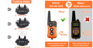 Dog Training Collar - Rechargeable Dog Shock Collar w/3 Training Modes, Beep, Vibration and Shock, 100% Waterproof Training Collar, Up to 660Ft Remote Range,