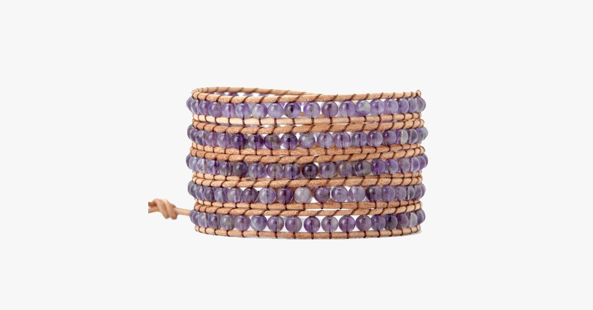 4MM Amenthyst Natural Stone Wrap Bracelet - FREE SHIP DEALS