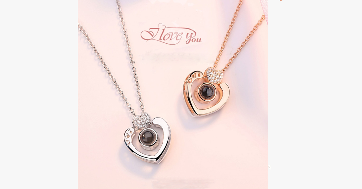 I Love You 100 Languages Projection Necklace - Intricate Engraving for the Perfect Way to Express Your Love to Someone