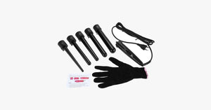 5 Professional Curling Wand Set 85W 100-240V with Heat Resistant Glove - FREE SHIP DEALS