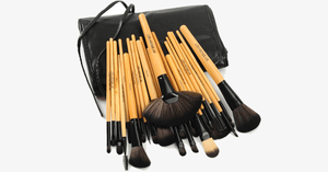 24 Piece Premium Wood Brush Set with Free Case - FREE SHIP DEALS