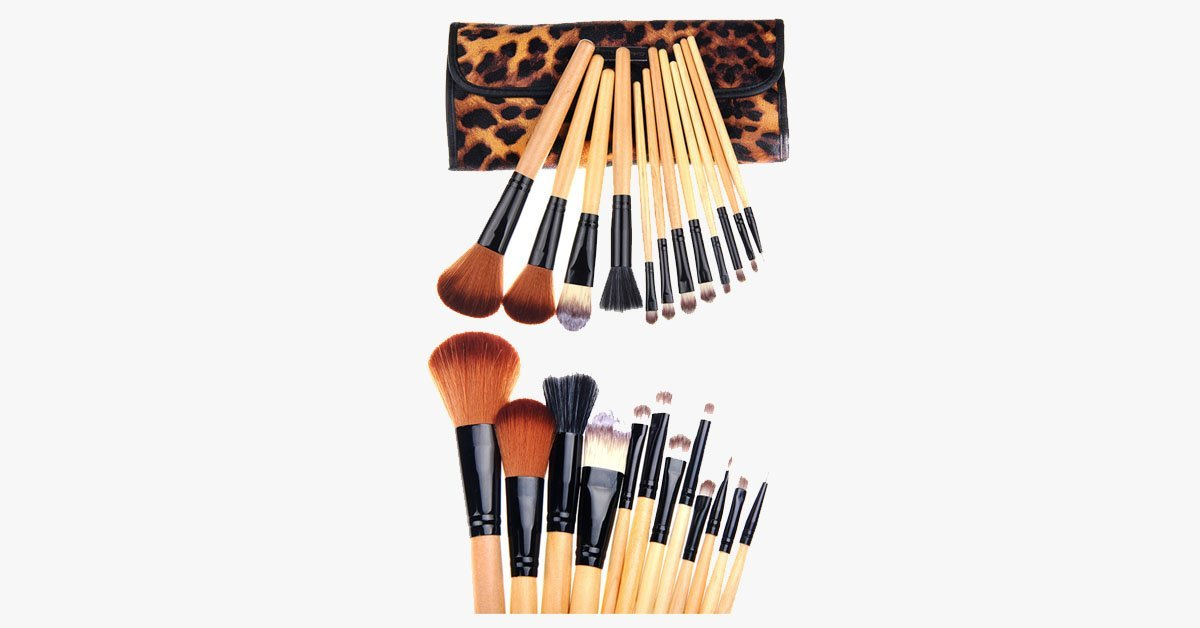 12 Piece Leopard Skin Brush Set - FREE SHIP DEALS