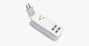 Portable Charging Station with 4 USB ports - Universal Power Socket & 1.5m Long Cord - Best for Travelling
