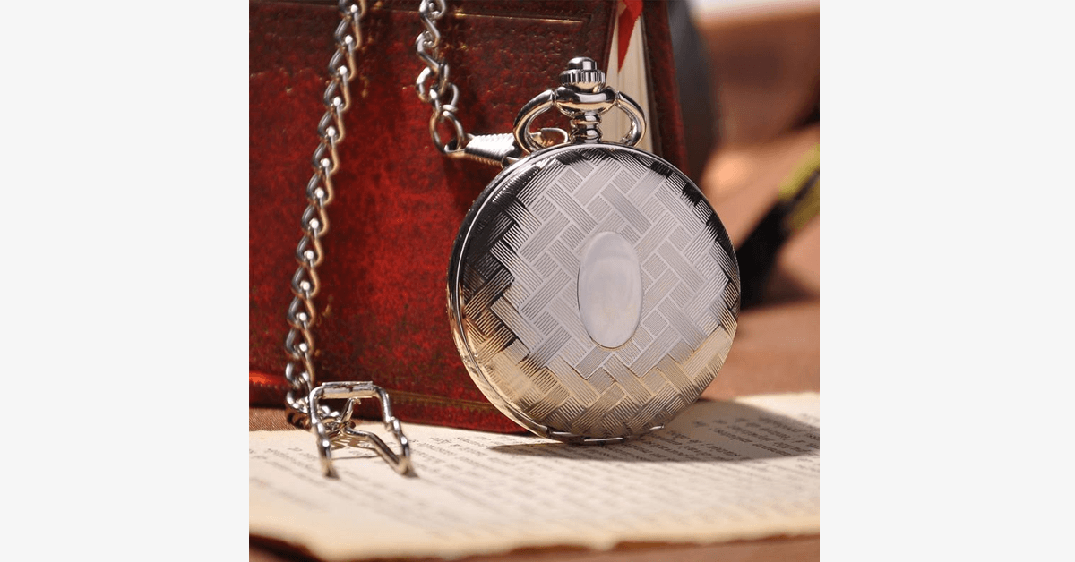 Silver Full Hunter Pocket Watch with Classic and Antique Look - Intricately Designed To Be Perfect Addition to Your Wardrobe