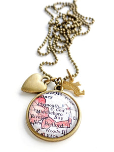 Cape Cod Massachusetts Map Charm Necklace- Gold