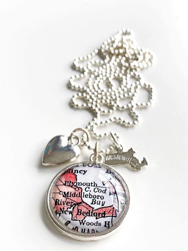 Cape Cod Massachusetts Map Necklace-Silver