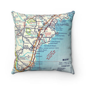 Maine Coast Map Pillow- Cover with Pillow Insert
