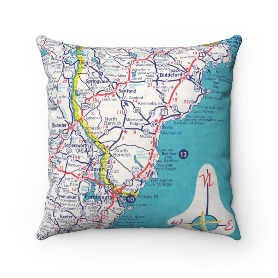 Ogunquit Maine Map Pillow- Cover with Pillow Insert