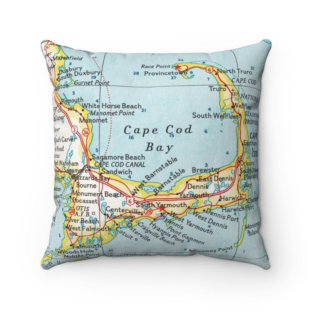 Cape Cod Massachusetts Map Pillow- Cover with Pillow Insert