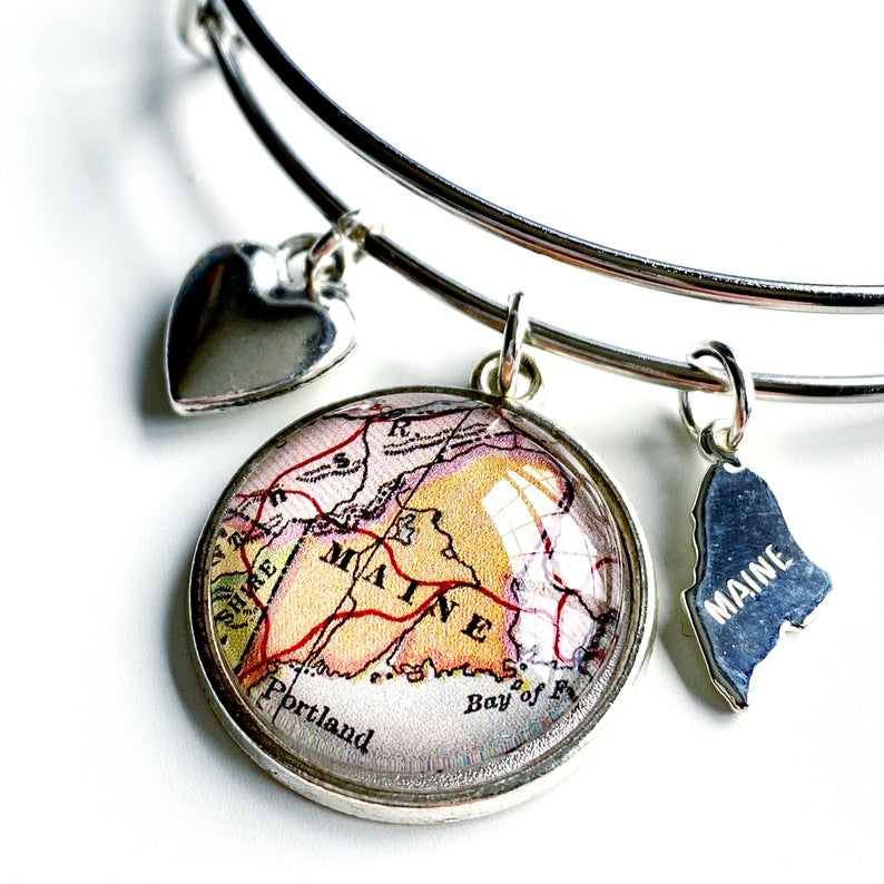 Maine Map Charm Bangle Bracelet-Silver