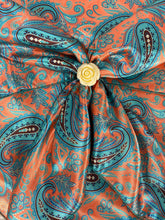 Load image into Gallery viewer, Coral with Turquoise Meredith Paisley
