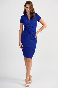 Joseph Ribkoff Ruched front V neck dress