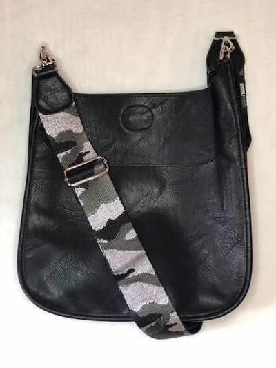 Ahdorned   Black Vegan Messenger Handbag