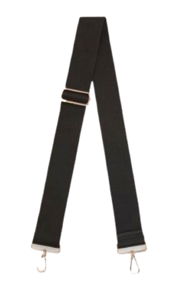 Ahdorned Adjustable Bag Strap/Black-Silver Hardware