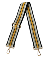 Ahdorned Adjustable Bag Strap/ Black, White,Tan,Gold Horizontal Stripe-Gold Hardware