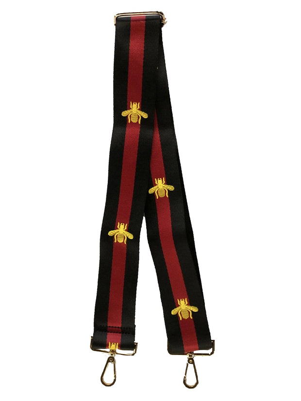 Ahdorned Black/Red Stripe w/Embroidered Gold Bee Adjustable Bag Strap