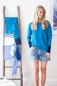 Creek Sweater /// Caribbean with Navy