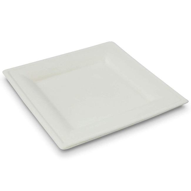 100% Biodegradable Eco-friendly Sugarcane Bagasse  Square Plate 8 Inch - ninobamboo