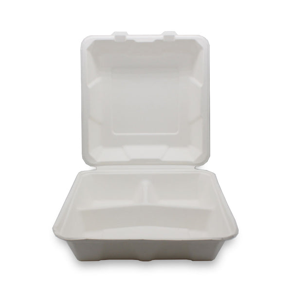 8x8inch 3 Compartment Sugarcane Bagasse Lunch Box
