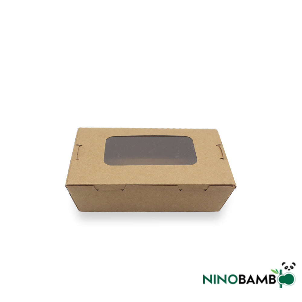 500ml Kraft Paper Disposable Salad Box With Window
