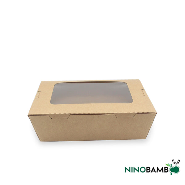 900ml Kraft Paper Disposable Salad Box With Window