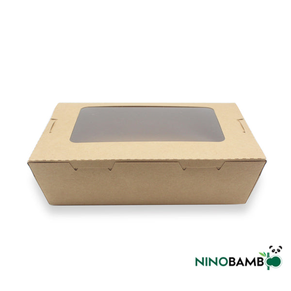 1200ml Kraft Paper Disposable Salad Box With Window