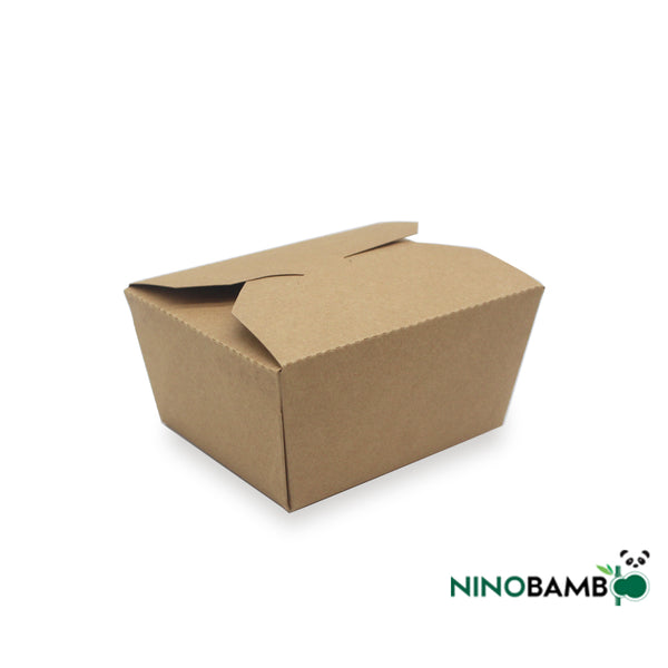800ml Kraft Paper Disposable Clip-on Salad Box