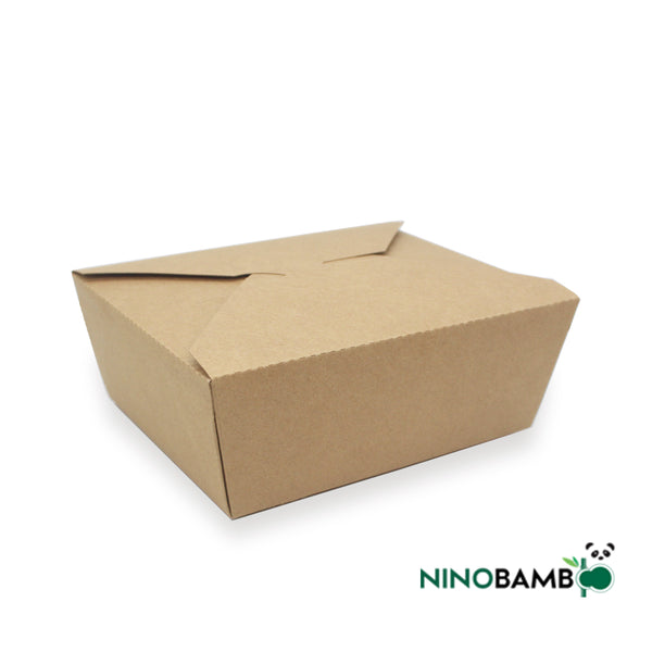 1400ml Kraft Paper Disposable Clip-on Salad