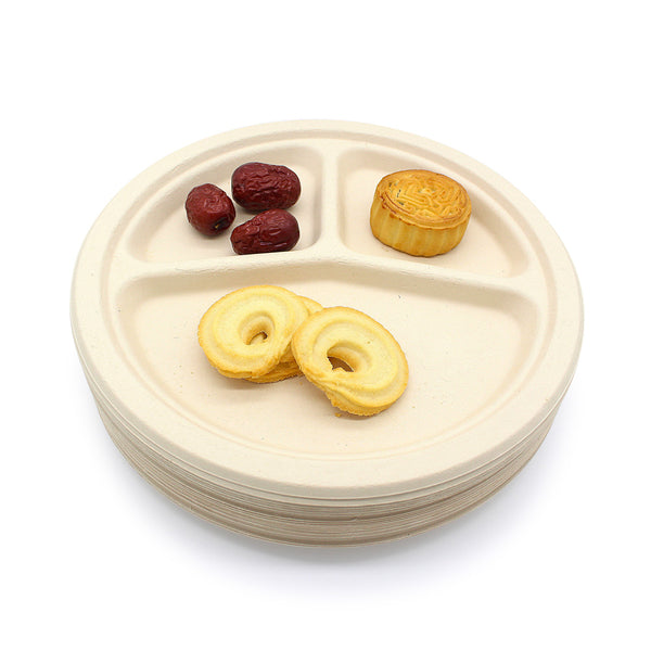 3 Compartment 9 inch Bamboo Fiber Round Plate