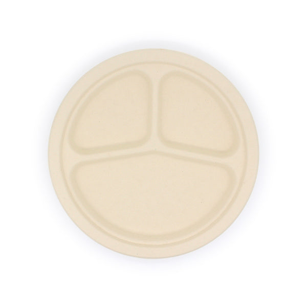 3 Compartment Bamboo Fiber Round Plate 9inch