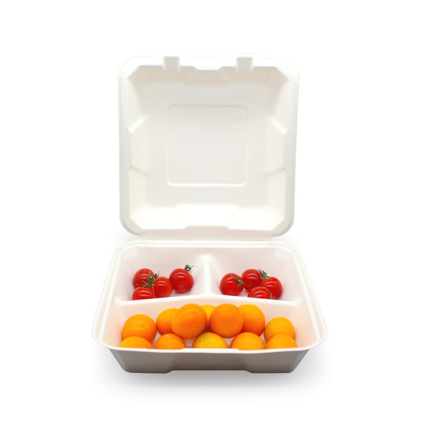 9x9inch 3 Compartment Sugarcane Bagasse Lunch Box