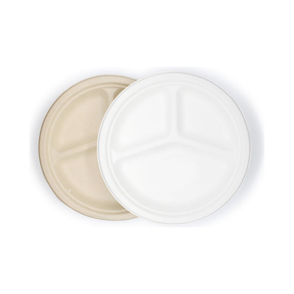 3 Compartment Sugarcane Bagasse Round Plate 10inch
