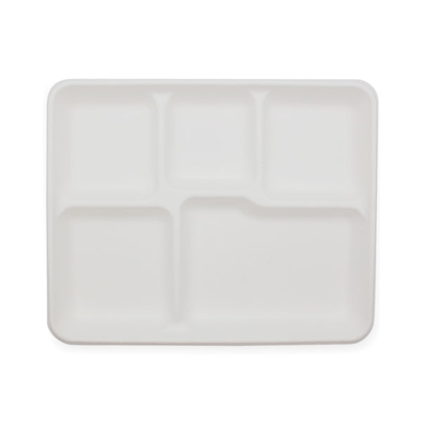 100% Biodegradable Sugarcane Bagasse 5 Compartment Tray