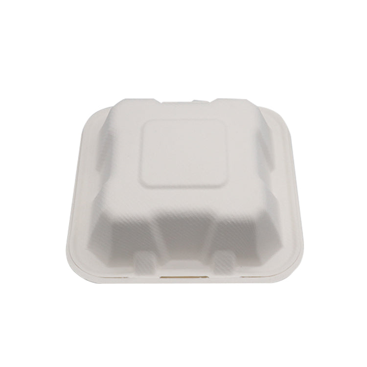 100% Biodegradable Sugarcane Bagasse 6x6inch Clamshell